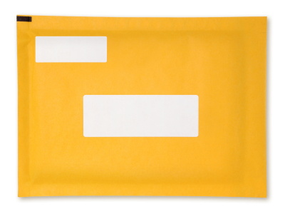 Envelope with white label
